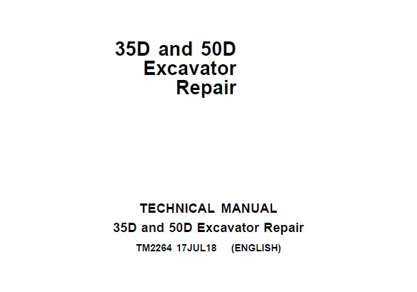 John Deere 35D and 50D Excavator Repair Technical Manual
