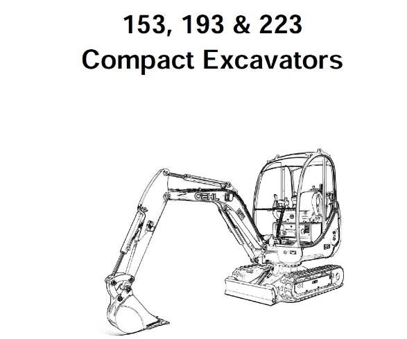Gehl 153, 193 & 223 Compact Excavator Service Repair