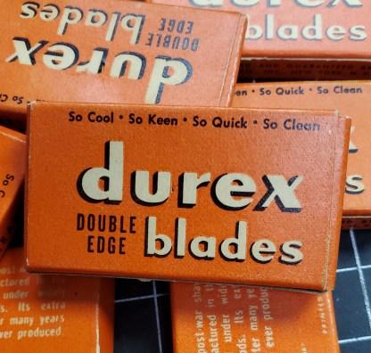 Unopened boxes of Durex Shaving Blades