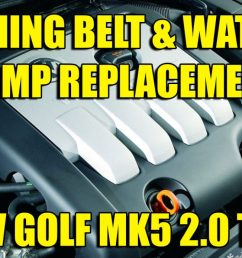 how to change replace vw golf mk5 jetta 2 0 tdi cambelt timing belt and water pump kit [ 1200 x 694 Pixel ]