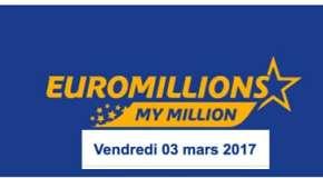 Résultat Euromillions et My Million du vendredi 3 mars 2017