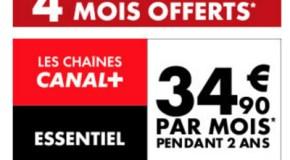 Vente Flash Promo 4 mois d'abonnement offerts sur les chaines Canal Plus
