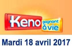 Résultat Keno (FDJ) tirage du Mardi 18 avril 2017