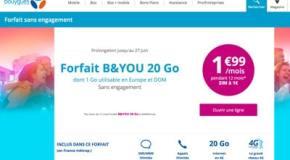 Promo forfait B&You (Bouygues Telecom) à 1.99€ par mois