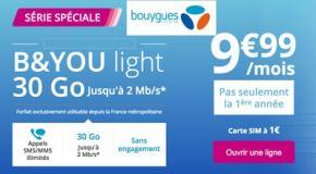 Bouygues : Promo B&You 30Go de data pour 9.99€ offre à ne pas rater