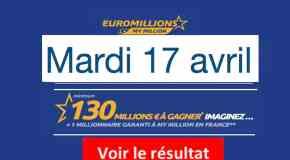 Résultat Euromillions et My million (FDJ) tirage du Mardi 17 avril 2018 [En Ligne]