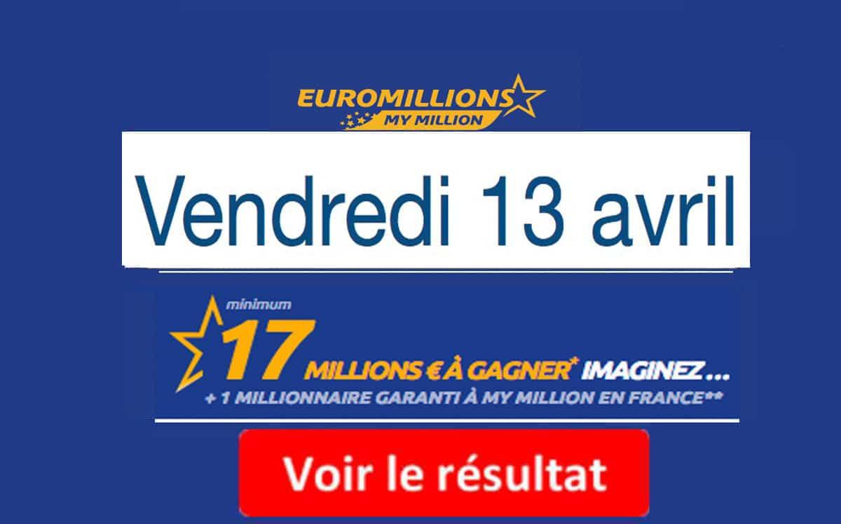 Numéros et code gagnants (tirage vendredi 13 avril 2018) — Résultat Euromillion