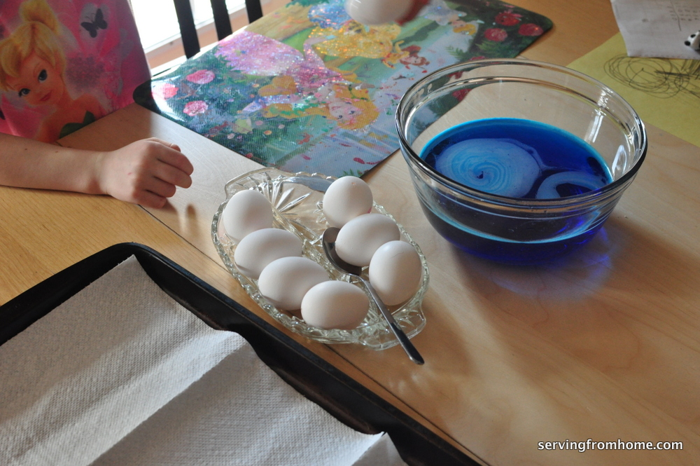 eggs and food colouring