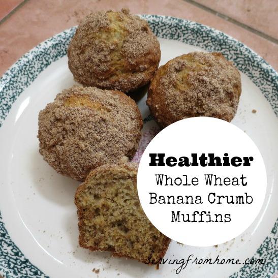 Healthier Whole Wheat Banana Crumb Muffins