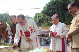 Nuncio flanked by Amboina bishop, Maluku Governor and Ambon mayor