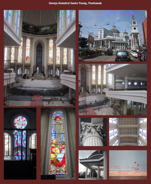 Katedral Santo Yosep Pontianak dari berbagai sudut pengambilan foto. (Royani Lim/Sesawi.Net)
