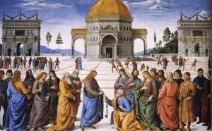 Yesus memberikan kunci kepada Petrus by Perugino Entrega de las llaves a San Pedro