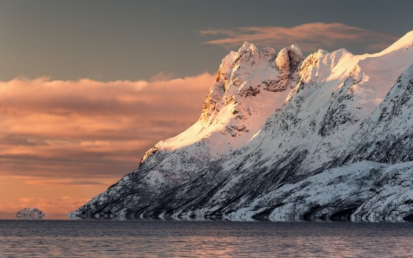 Sunset Ice Mountains Ocean Landscapes Wallpaper 1920x1200