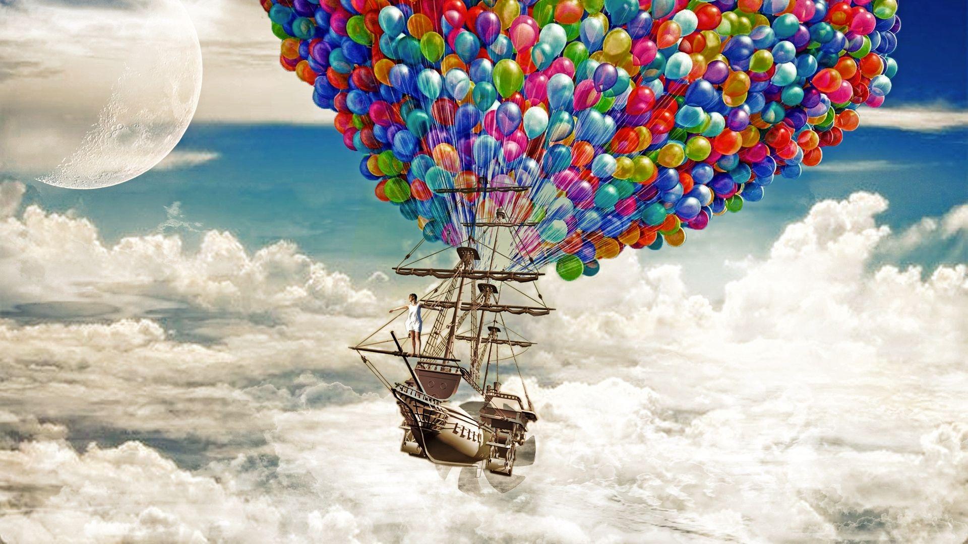 ship sky balloons 1920x1080