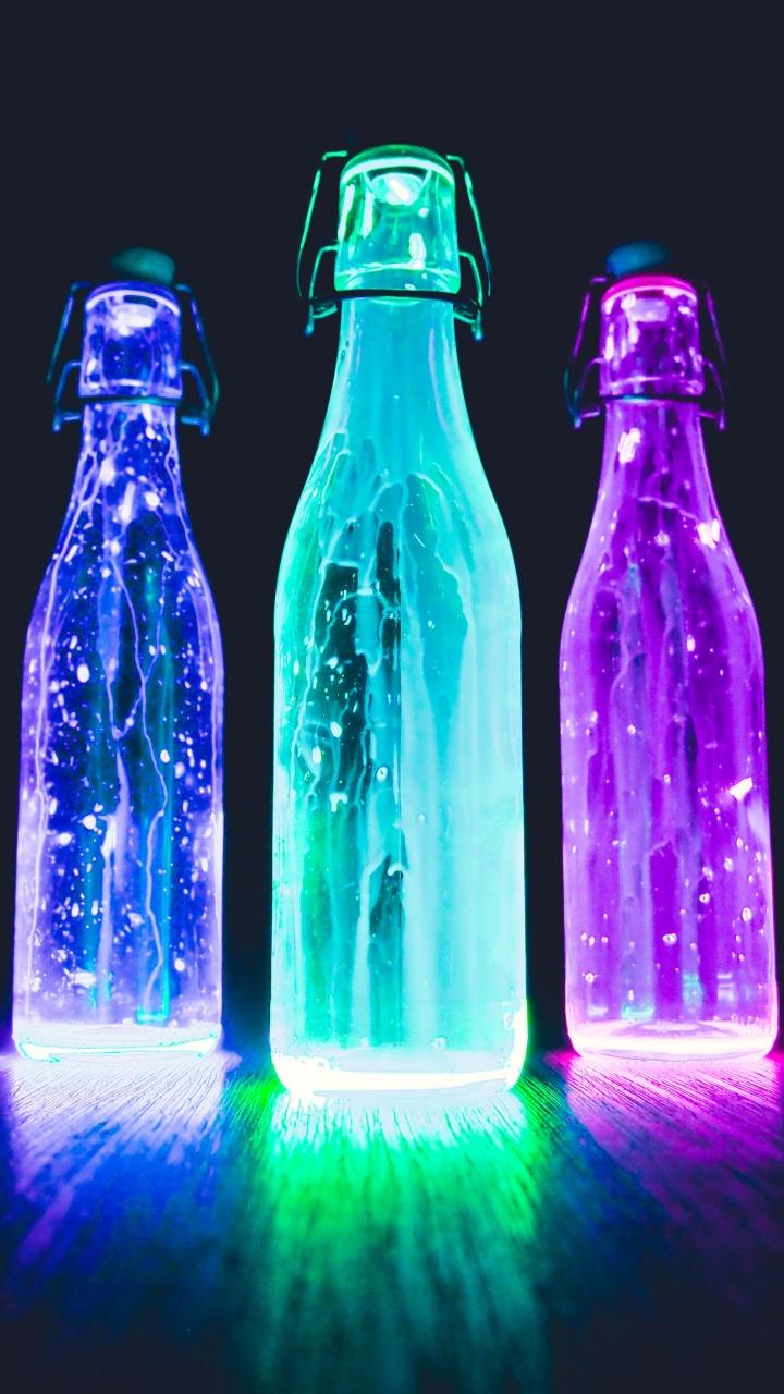 Liquid Wallpapers For Iphone X Bottles Neon Light Liquid Wallpaper 720x1280