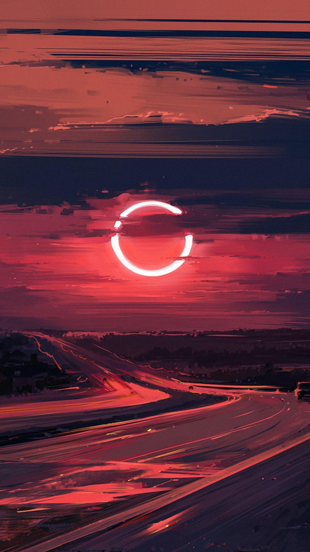 Cloud Eclipse Evening Moon Ut Wallpaper  1080x1920