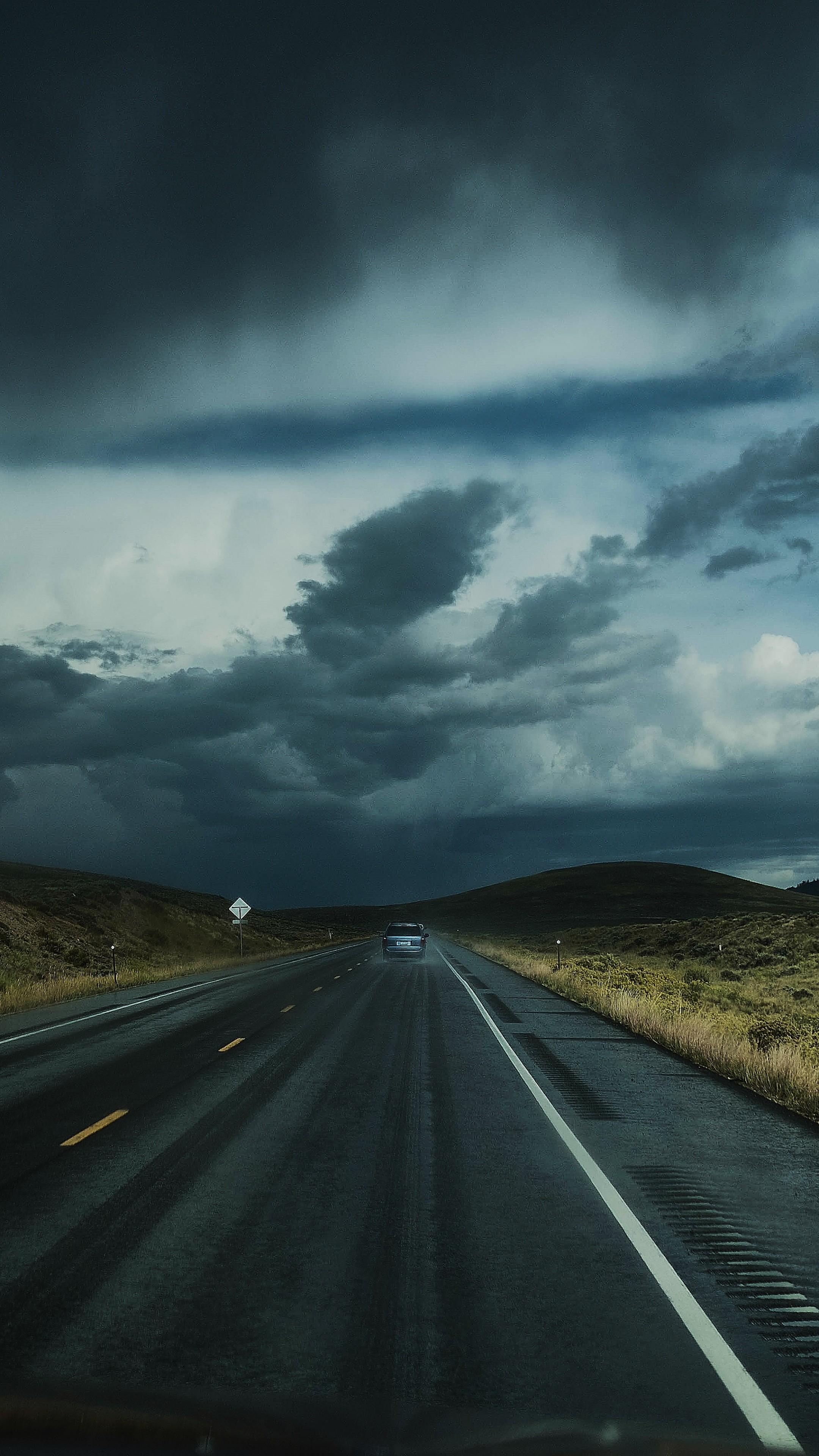 Road Clouds Auto Traffic Wallpaper 2160x3840