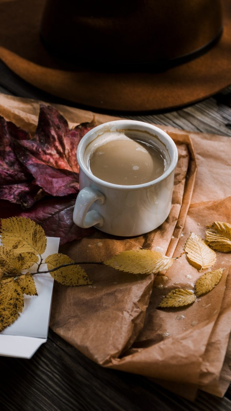 Wallpaper 3d Windows 7 1366x768 Coffee Autumn Hat Foliage Wallpaper 1440x2560