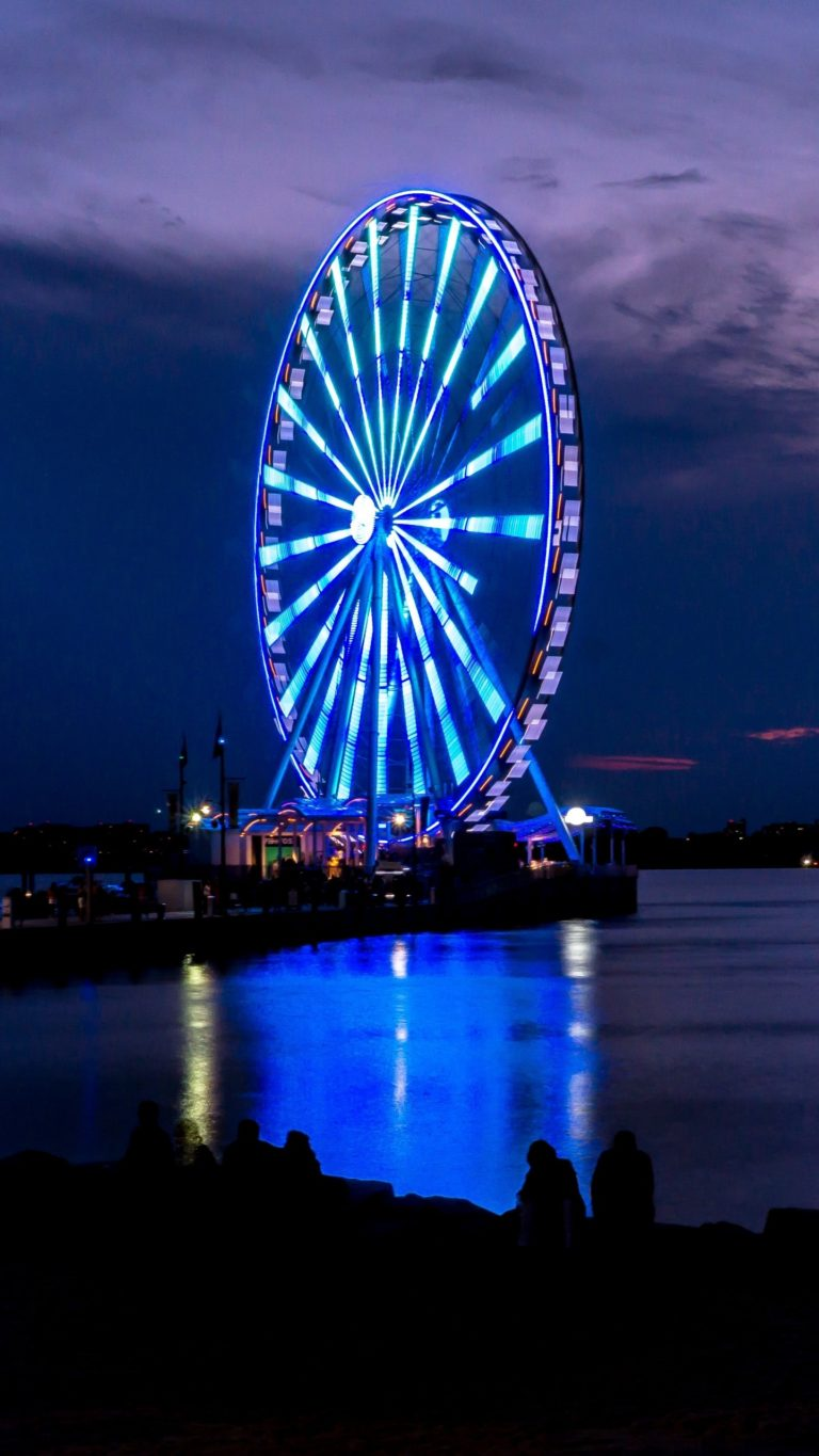 Samsung Galaxy S4 Wallpapers Hd Download Ferris Wheel Night Shore Wallpaper 1440x2560