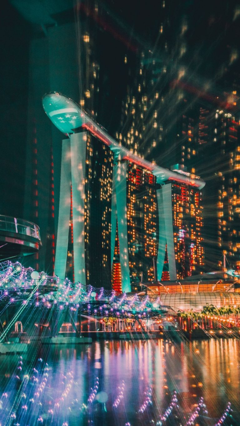 Solid Iphone Wallpaper Singapore Night Building Wallpaper 1440x2560