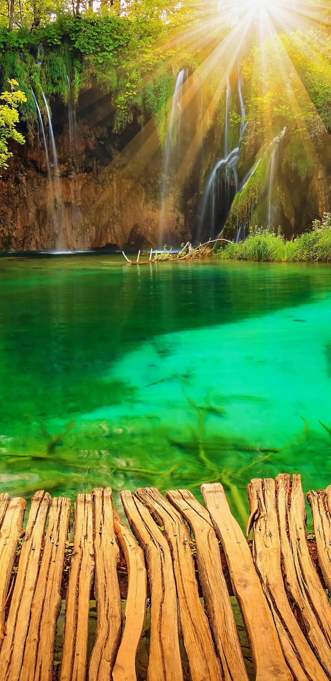 3d Bike Wallpaper Image Download Croatia Parks Lake Waterfall Plitvice Rays Of Light
