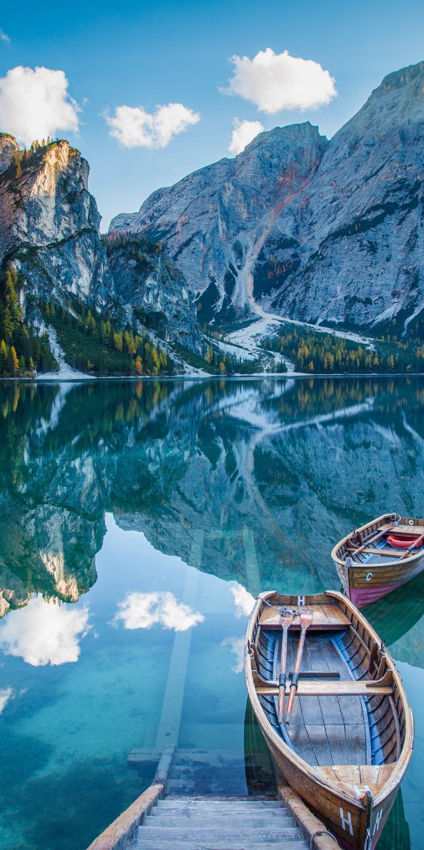 Amoled Wallpaper Hd Lake Deck Boat Mountains Mirror 1440x2880