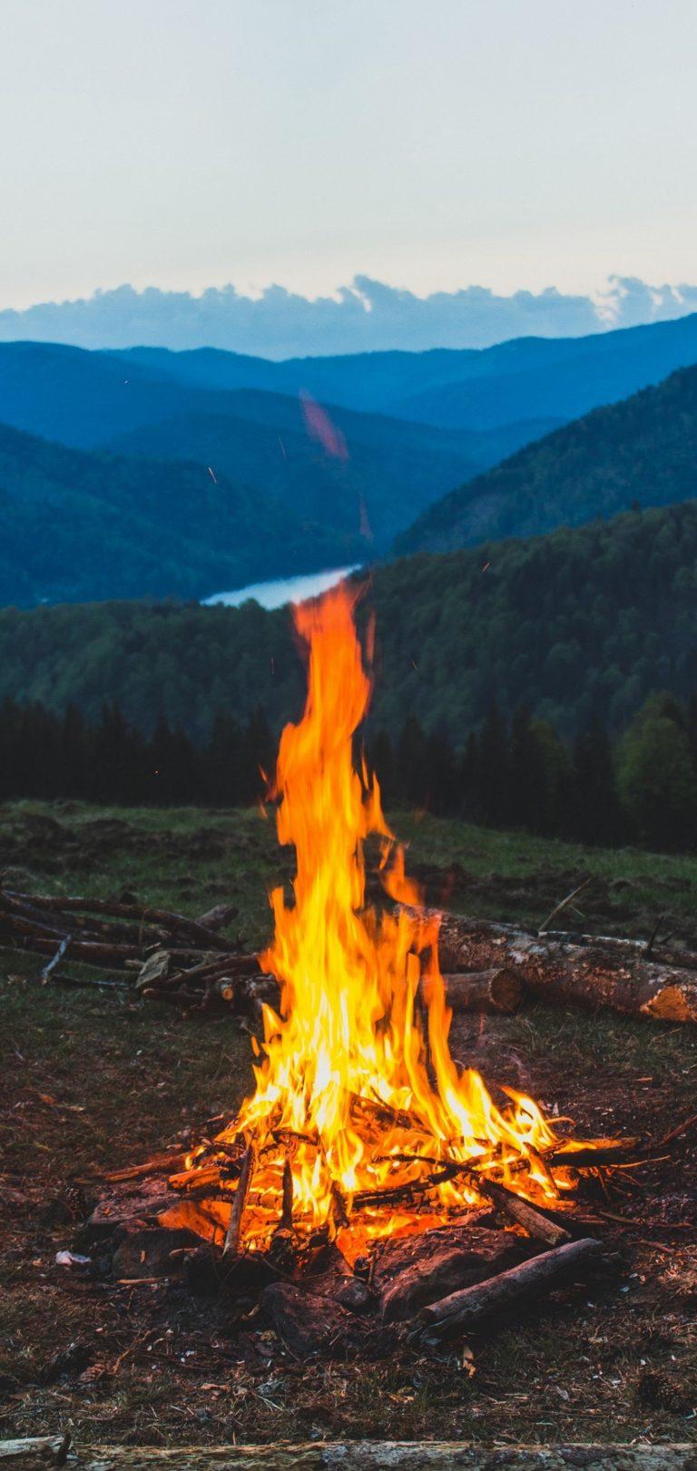 Fire Wallpaper Iphone X Firewood Campfire Mountain Wallpaper 1440x3040