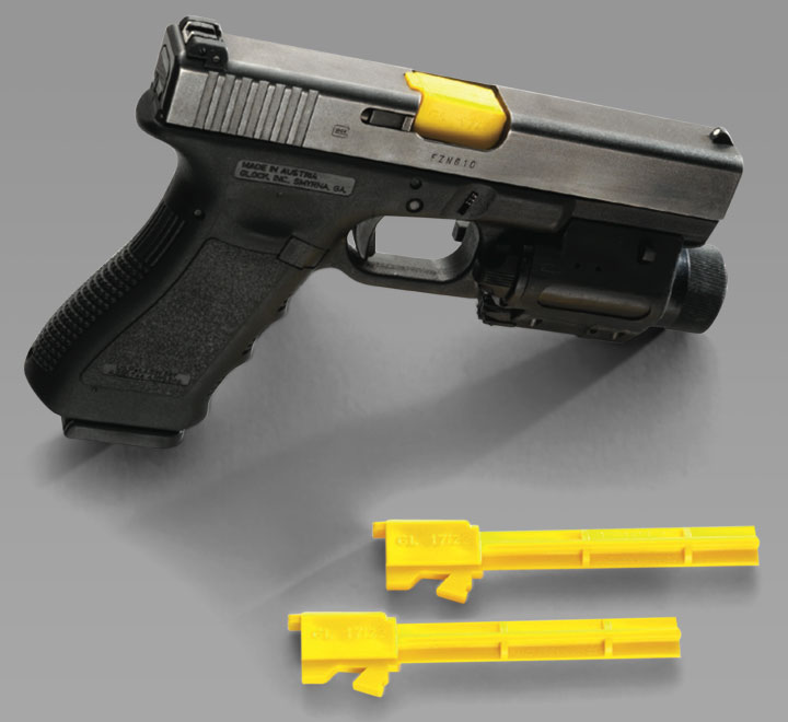 Cañón de entrenamiento de la marca BladeTech que permite realizar ejercicios de adiestramiento en seco sin pelibro de realizar un disparo negligente/accidental.