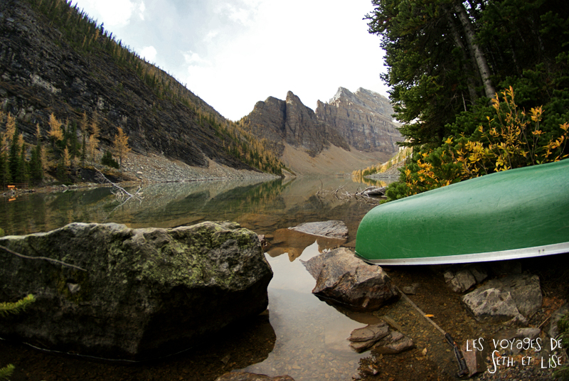 blog pvt photographie pvtiste canada alberta rocheuses rockies moutains voyage montagne couple tour du monde nature parc national lac lake agnes canoe