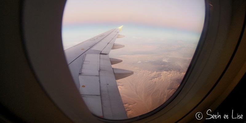 vue du hublot de l'avion