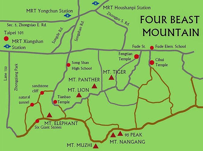 four beast mountain taipei trail