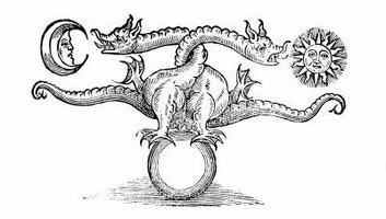 A two-headed dragon, from an ancient woodcut.