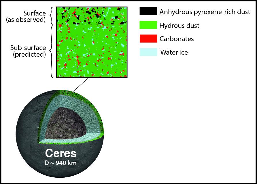 La superficie de Ceres está contaminada por una cantidad significativa de material seco, mientras que el área bajo la corteza contiene esencialmente materiales con agua. Ls observaciones en el infrarrojo medio con SOFIA revelaron la presencia de piroxeno en la superficie, probablemente procedente de partículas de polvo interplanetario. Fuente: SETI Institute.