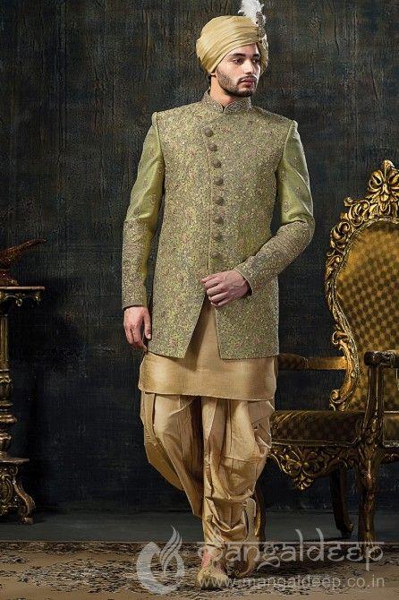 green sherwani for groom