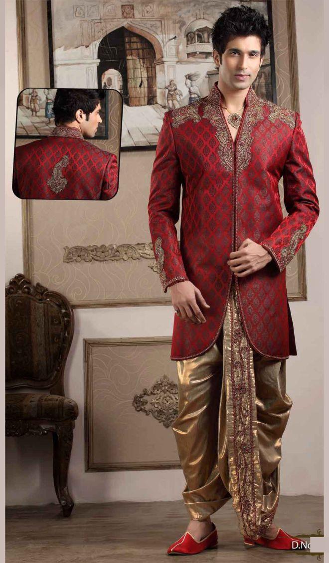 marron designer sherwani