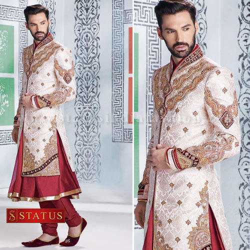 white designer sherwani
