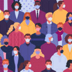 Vector illustration of multiethnic crowd of people in medical masks in trendy flat style.