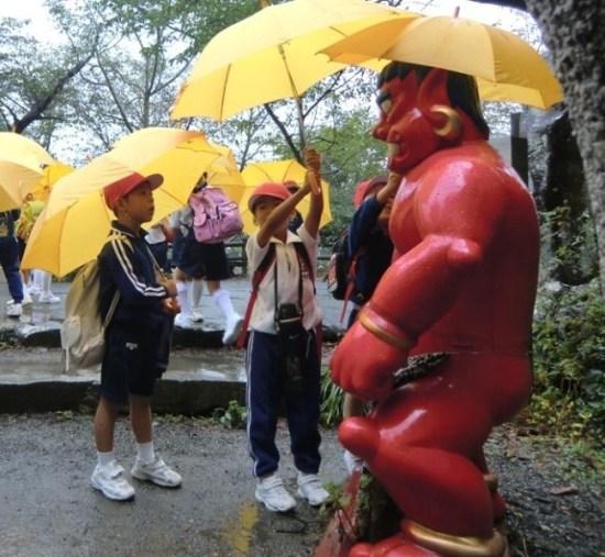 Oni in the Rain on Megijima