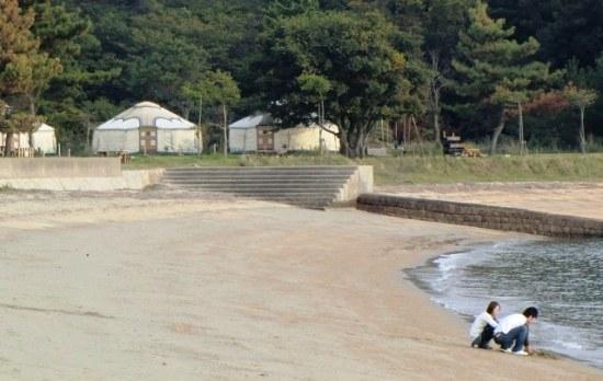 Naoshima International Camp's Yurts