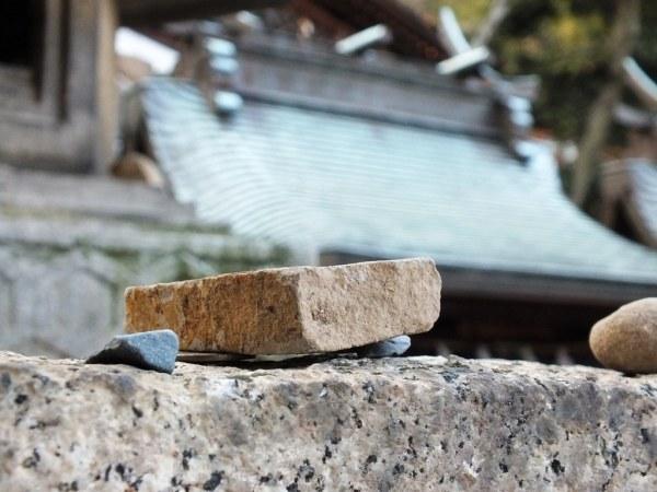Stone on a torii