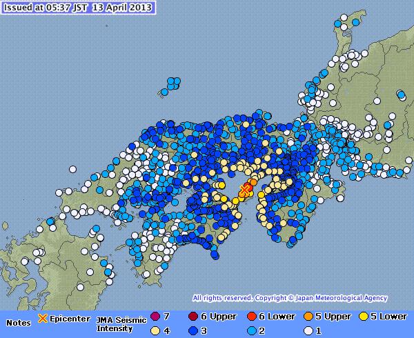 Earthquake - Awajishima - April 13 2013