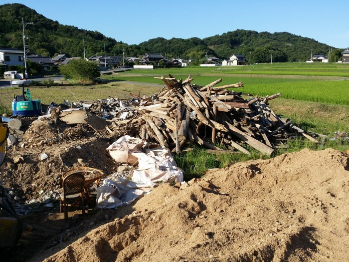 Pile of wood in a Japanese junkyard