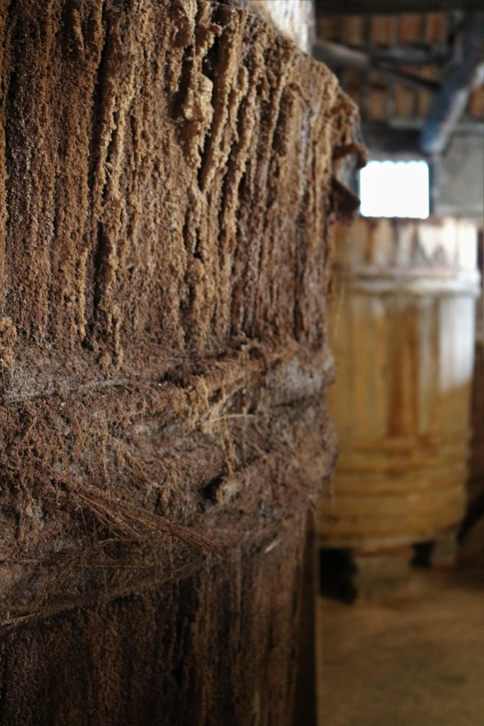 This barrel is 150 years old, the strange appearance of the wood is due to the tons of yeast and other micro-organisms.