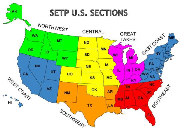 Map of SETP US Sections SETP Sections