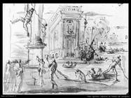 Agostino Tassi Capricho con una vista del Palacio de los miembros de la Junta