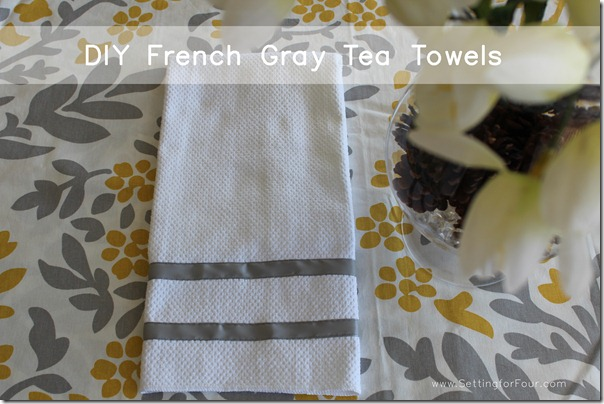 gray kitchen towels island work station quick and easy ribbon trimmed setting for four make these pretty diy decorate your with