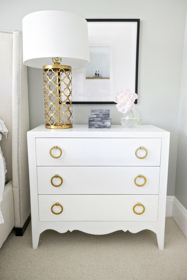 Decor Inspiration White Dresser With Gold Pulls Paired A Cutwork Lamp Is