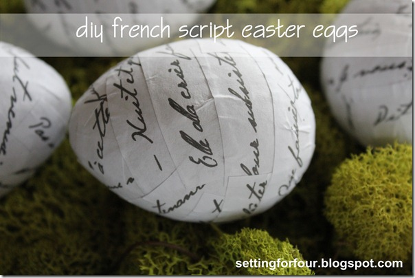 DIY French Script Easter Eggs from Setting for Four #modpodge #diy #tutorial #french #script #easter #decor #ballard #milkglass