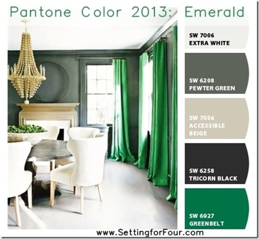 emerald green bedroom paint colors Pantone Color 2013 Emerald with Chip It - Setting for Four