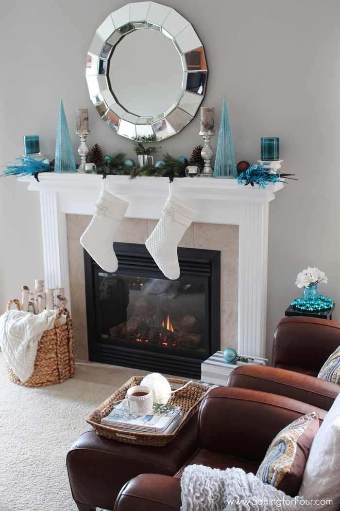 Glam Christmas Mantel  Setting for Four